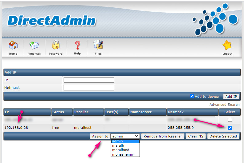 assign ip directadmin