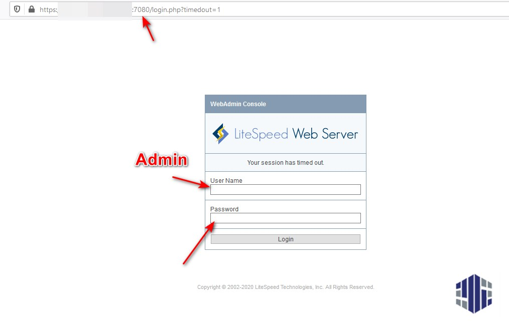 LiteSpeed Admin Login
